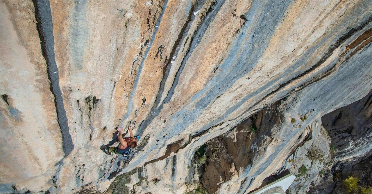 Seb Bouin on the first ascent of The Dream. Photo Etienne Tafary/tchaloprosuctions