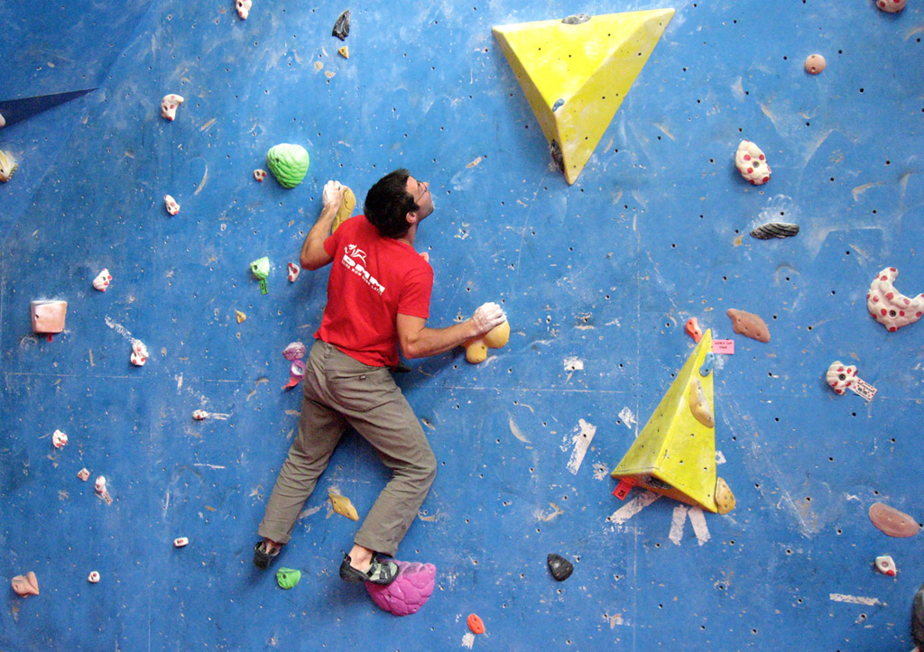 The use of a large foothold allows the climber to experience pulling on some really small holds.
