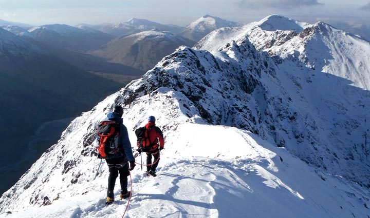 John Richmond and Scott Flett descending Meall Dearg towards The Pinnacles of Aonach Eagach.