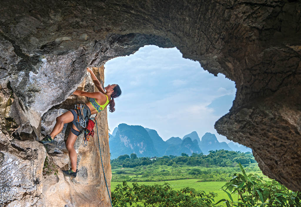 Xiao Yao climbing Poser's Lonely Reunion (F6b) on the Egg. Photo: Thorsten Henn