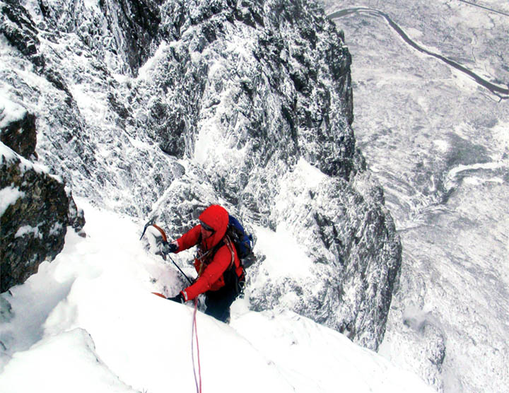 Bob Johnson emerging onto Crowberry Tower from Shelf Route.