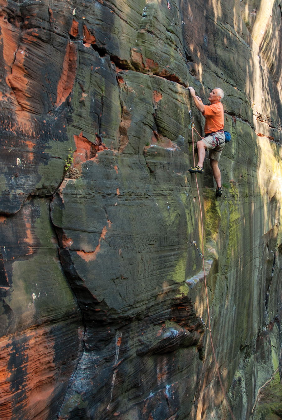 Mark Hounslea climbing The Flying School (F6c+) at Frogsmouth Quarry. Photo: Paul Evans