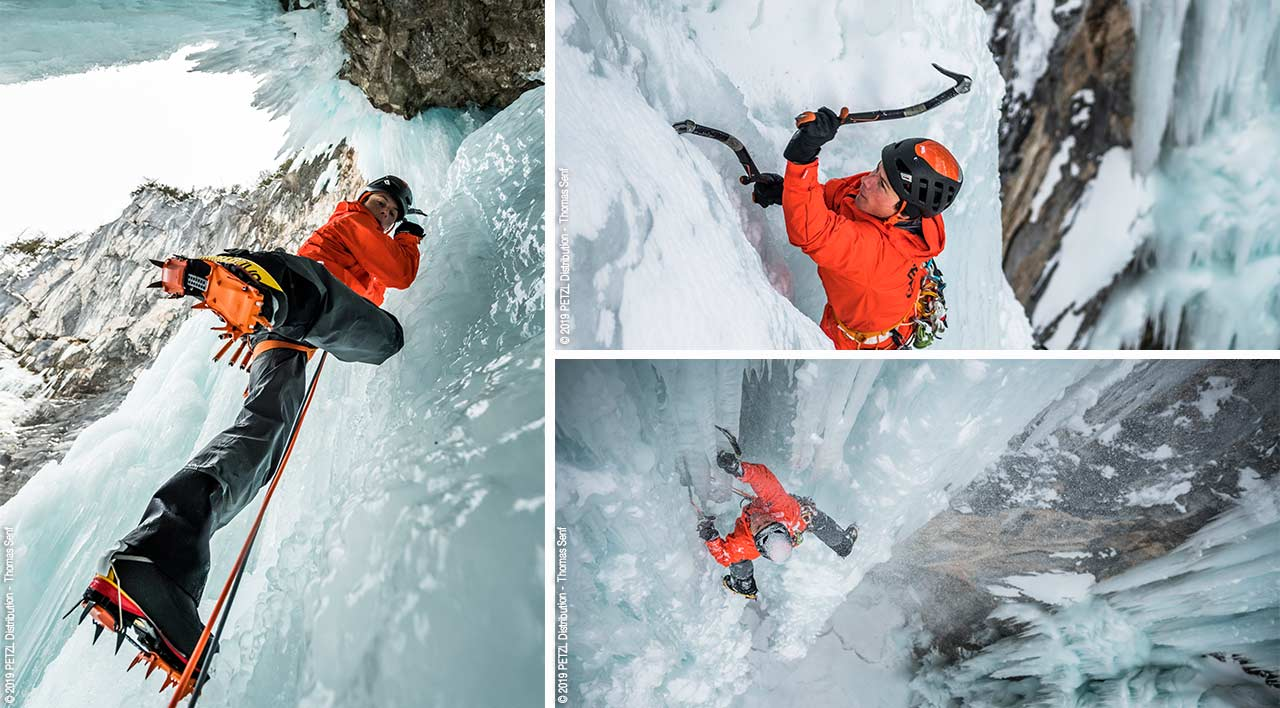 Climbing on the rare-formed icedagger on Seebenseefall. Photo Petzl