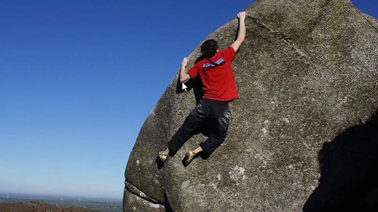 James Squire on the first ascent of Pursuit of Slappiness (Font 8b) at Kilmar Tor. Photo/Video Grab: Ed Gow Smith