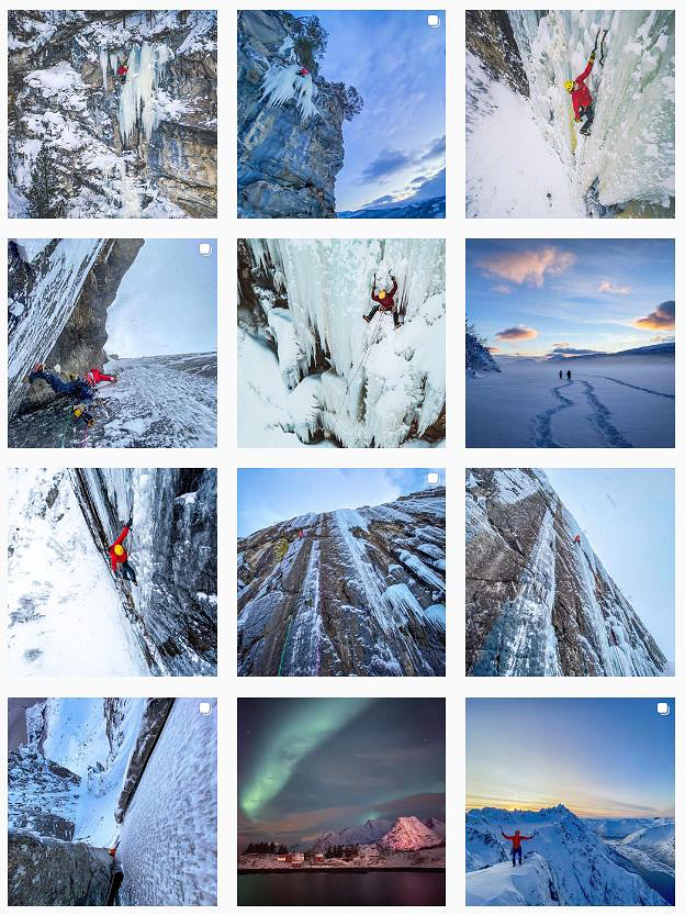 Greg Boswell's Instagram page showing some of the incredible climbing at Lofoten