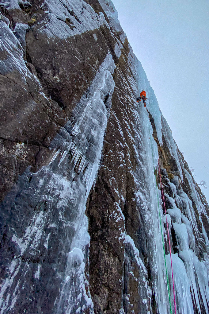 Jeff Mercier during the first ascent of La Tournée du Poltron (WI5+), the first of the two new routes on a low-level 'avalanche-free' wall. Photo Greg Boswell