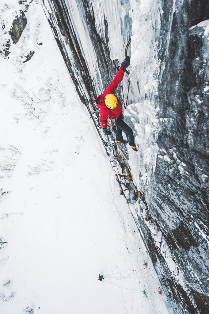Greg Boswell on the upper section of Taking it Home (X,9/WI6); the second new route they climbed on that wall. Photo Mathis Dumas