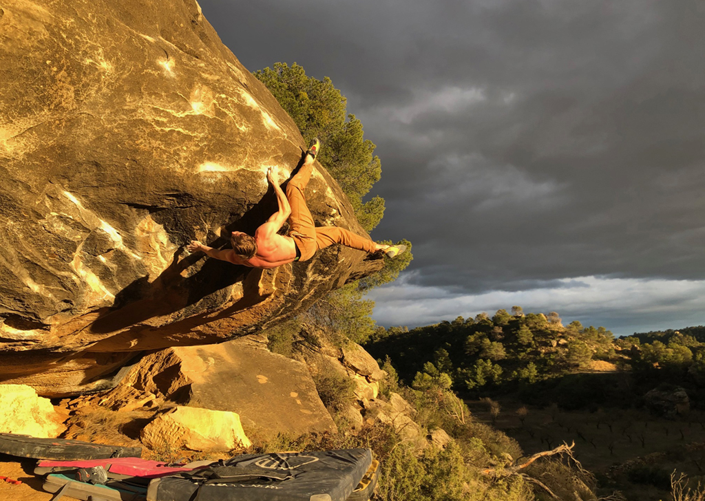 James Pearson on Ba Boom (Font 8b+) at Alcañiz, Spain. Photo onceuponaclimb