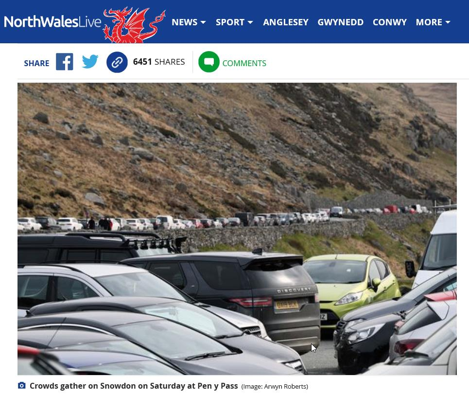 The Daily Post today showing a rammed car-park at Pen-y-Pass
