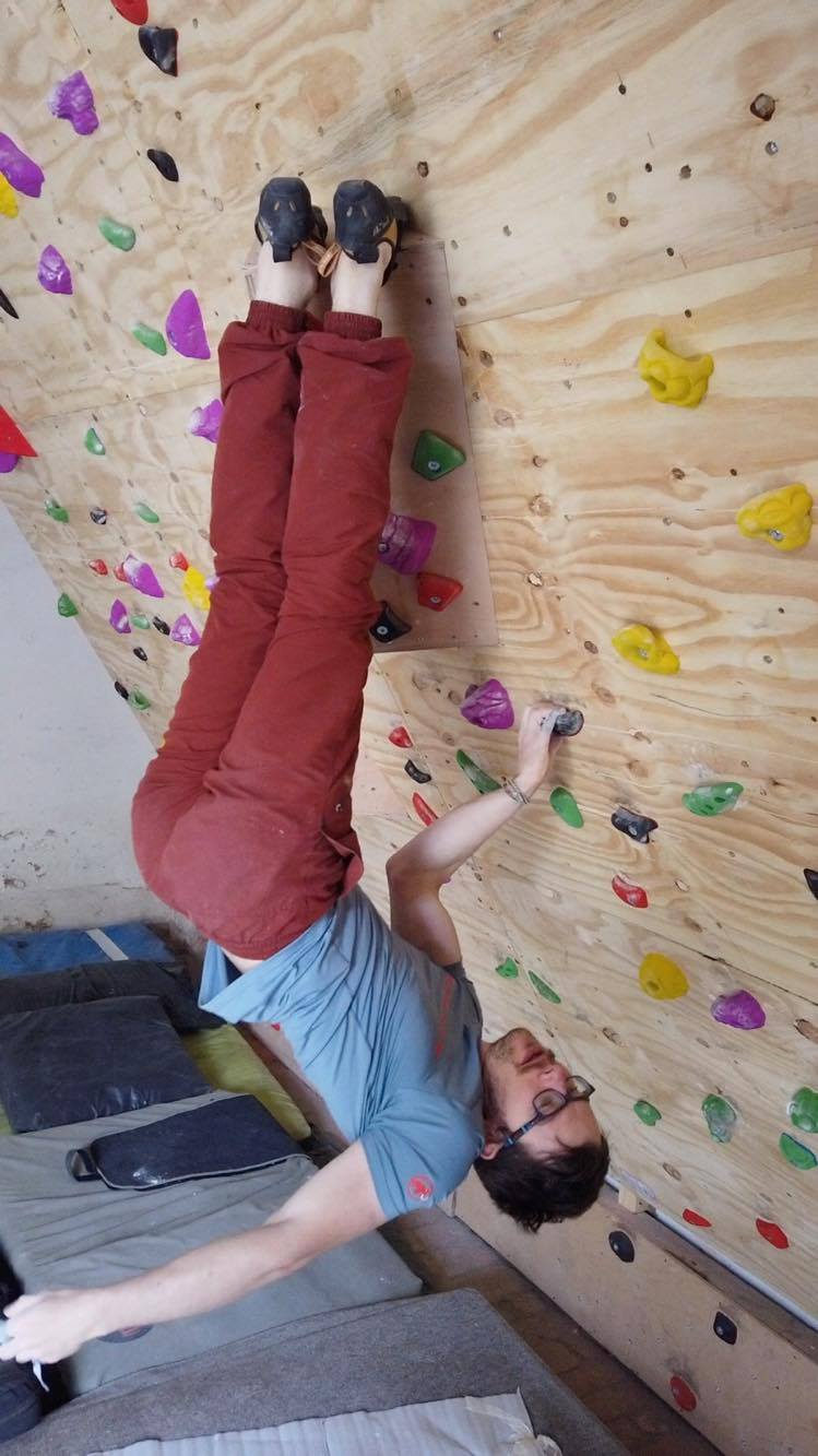 Ethan Walker training hard on his new home wall during lockdown. Photo: Ethan Walker Collection