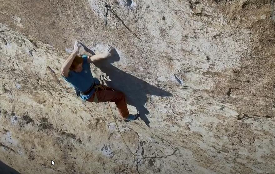 Seb Bouin cranking through that move on that route at Buoux.