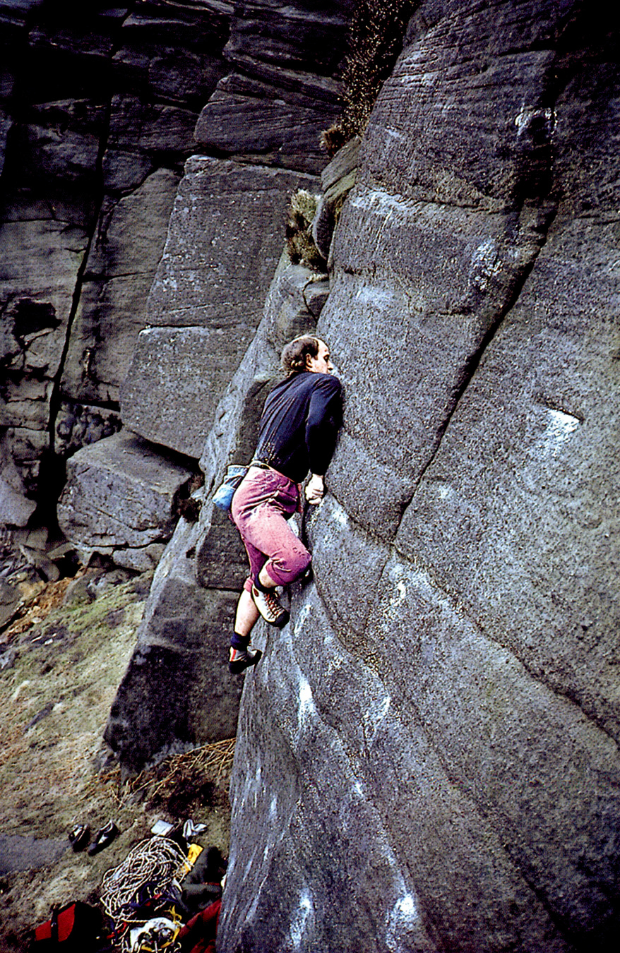 The Boss, John Allen climbing  Shirley's Shining Temple (E5 7a), Stanage in March 1984 during his second wave of gritstone development. Photo: © Paul Williams.