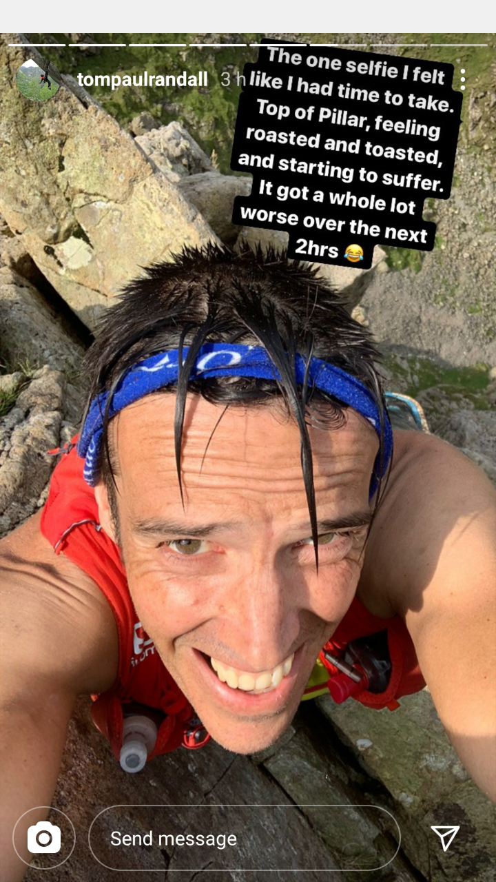 It's all about the suffering: Tom Randall on the top of Pillar Rock. Photo: Tom Randall Instagram