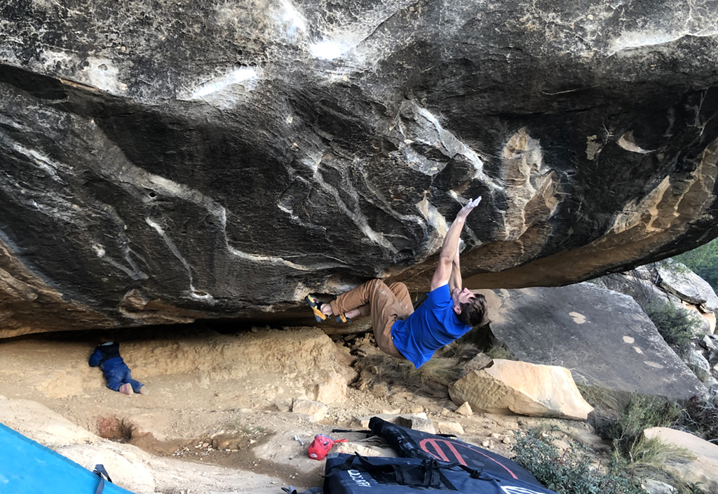 James Pearson repeating Master and Cifuentes (Font 8b+) at Alcañiz, Spain. Photo: onceuponaclimb
