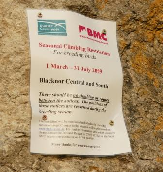 A BMC bird restriction notice, this one on Portland, Dorset. Photo: Mike Robertson