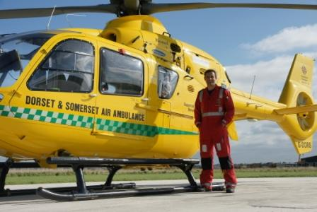 The cost of an accident; Dorset climber and paramedic Mark Williams at his day job, working for rescue charity Dorset and Somerset Air Ambulance. Photo: Mike Robertson