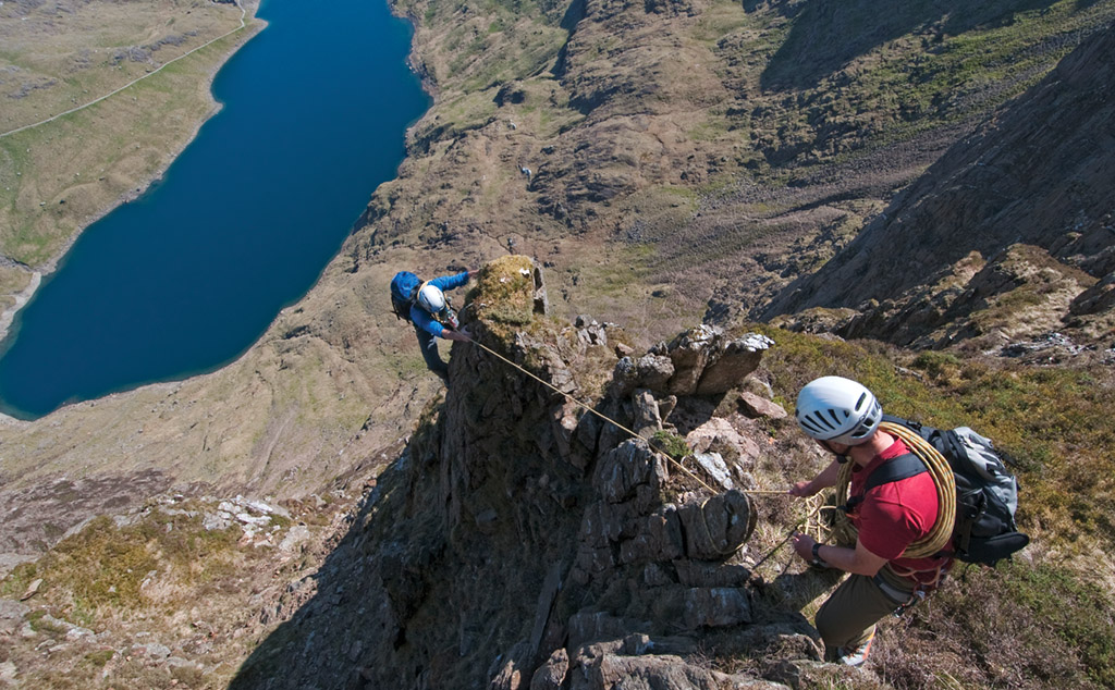 Tim Neill and Ric Potter taking it cautiously on Lliwedd's Billberry Terrace (III+). Photo: Garry Smith