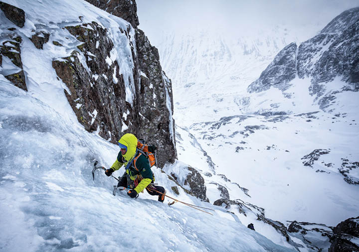 Giles Trussell on the second ice pitch of Jubilation (IV 4), Jubilee Buttress. Photo: Glenmore Lodge/Nadir Khan