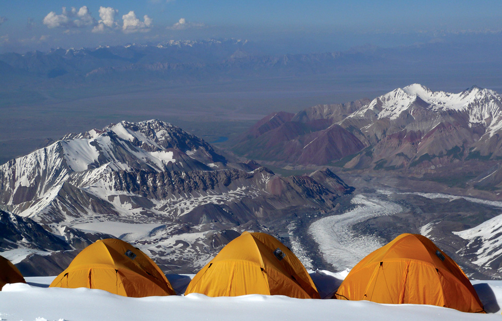 Camp 3 complete with a stunning view. Photo: © Richard Haszko