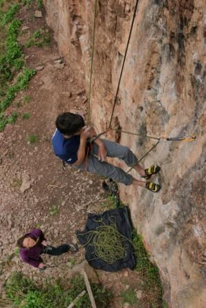 As you lower past the first bolt swing across and clip in a quickdraw, clip in the rope and add a quickdraw from your harness to the rope then carry on lowering off. Photo: Mike Robertson