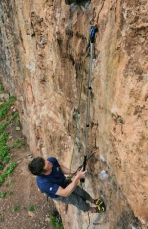 You can pull up the clipstick if you're stranded between bolts or want to get the rope to the top. Photo: Mike Robertson