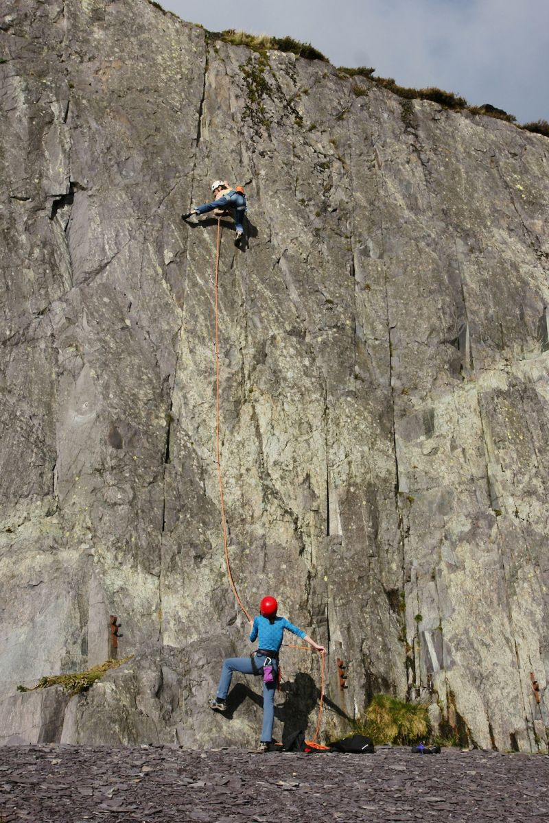 Attentive belaying in the Dinorwig slate quarries. Photo: Mike Robertson